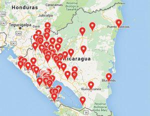 Ubicación de los negocios afiliados en Nicaragua